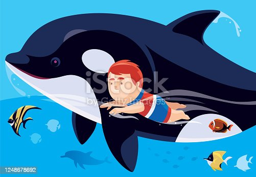 istock little boy swimming with killing whale 1248678692