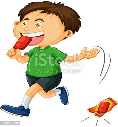 A Boy Taking Out the Trash - Royalty Free Clipart Picture
