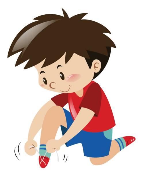 Schuhe Binden Kind Vektorgrafiken Und Illustrationen
