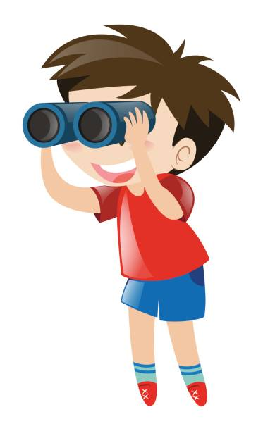 little boy using binocular - bird watching stock illustrations, clip art, cartoons, & icons