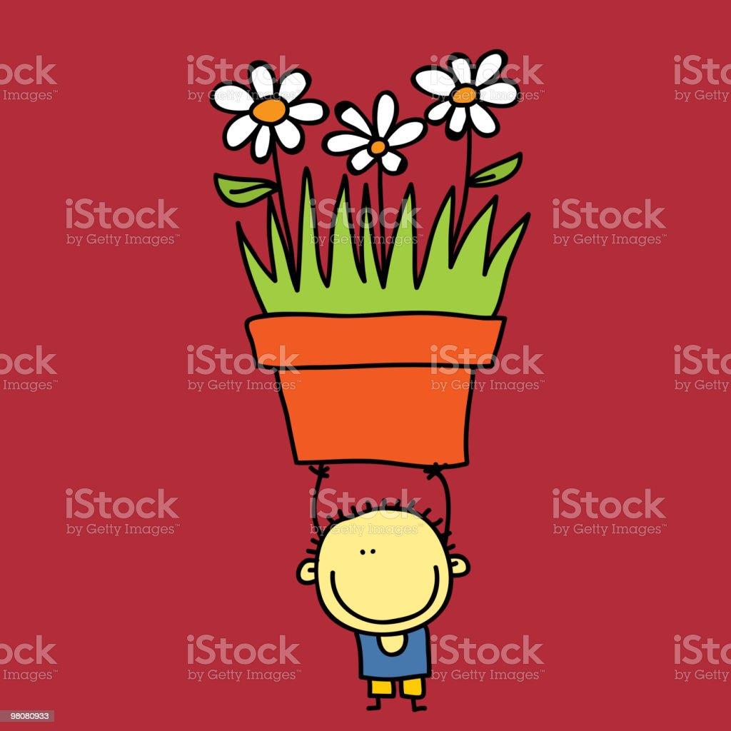 소년만 royalty-free 소년만 꽃 한송이에 대한 스톡 벡터 아트 및 기타 이미지