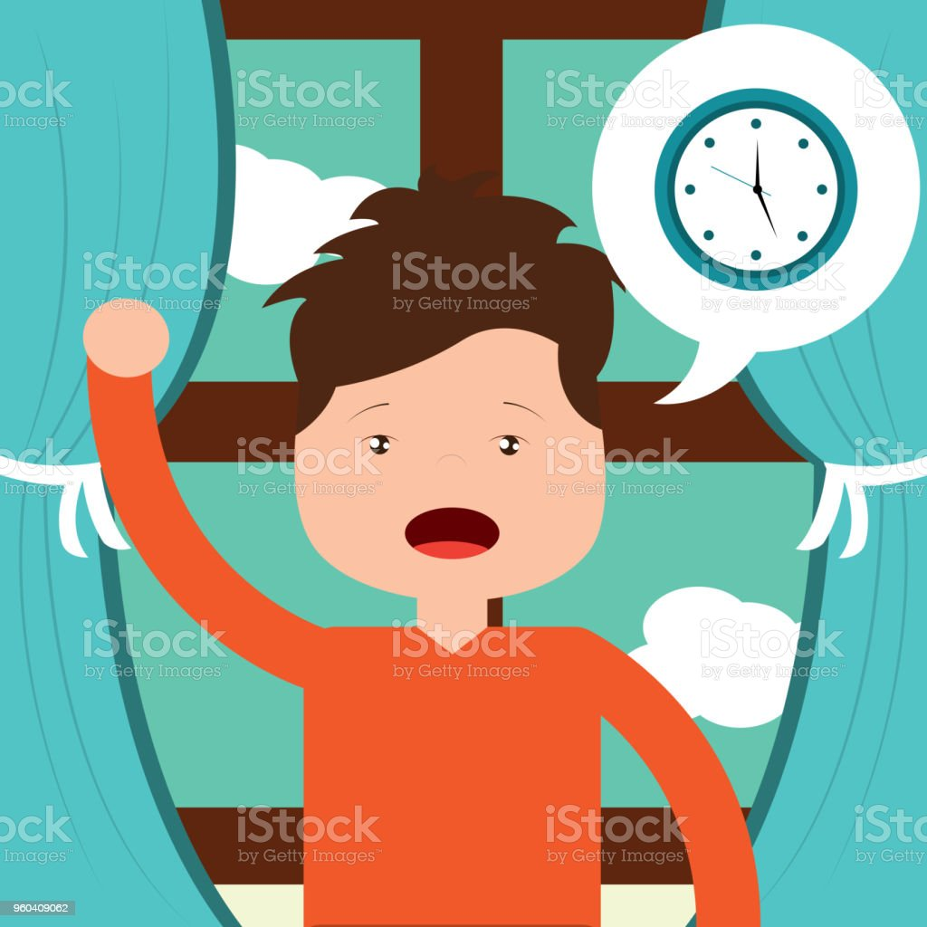 little boy wake up clock and window background stock vector art