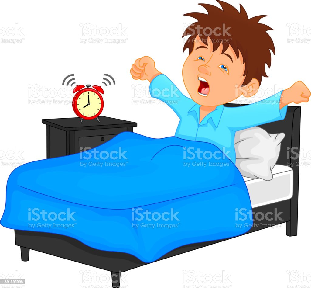 little boy wake up in the morning vector art illustration