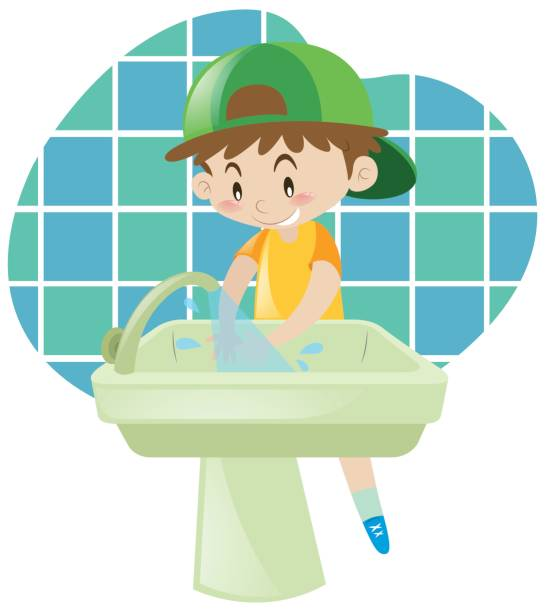 Best Washing Dishes Illustrations Royalty Free Vector: Best Kids Washing Hands Illustrations, Royalty-Free Vector