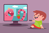 Little boy watch TV. Vector cartoon illustration of a child.