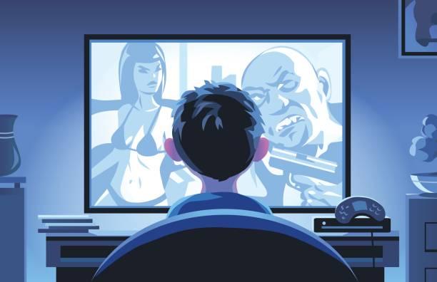 illustrazioni stock, clip art, cartoni animati e icone di tendenza di little boy watching movie late at night - thriller