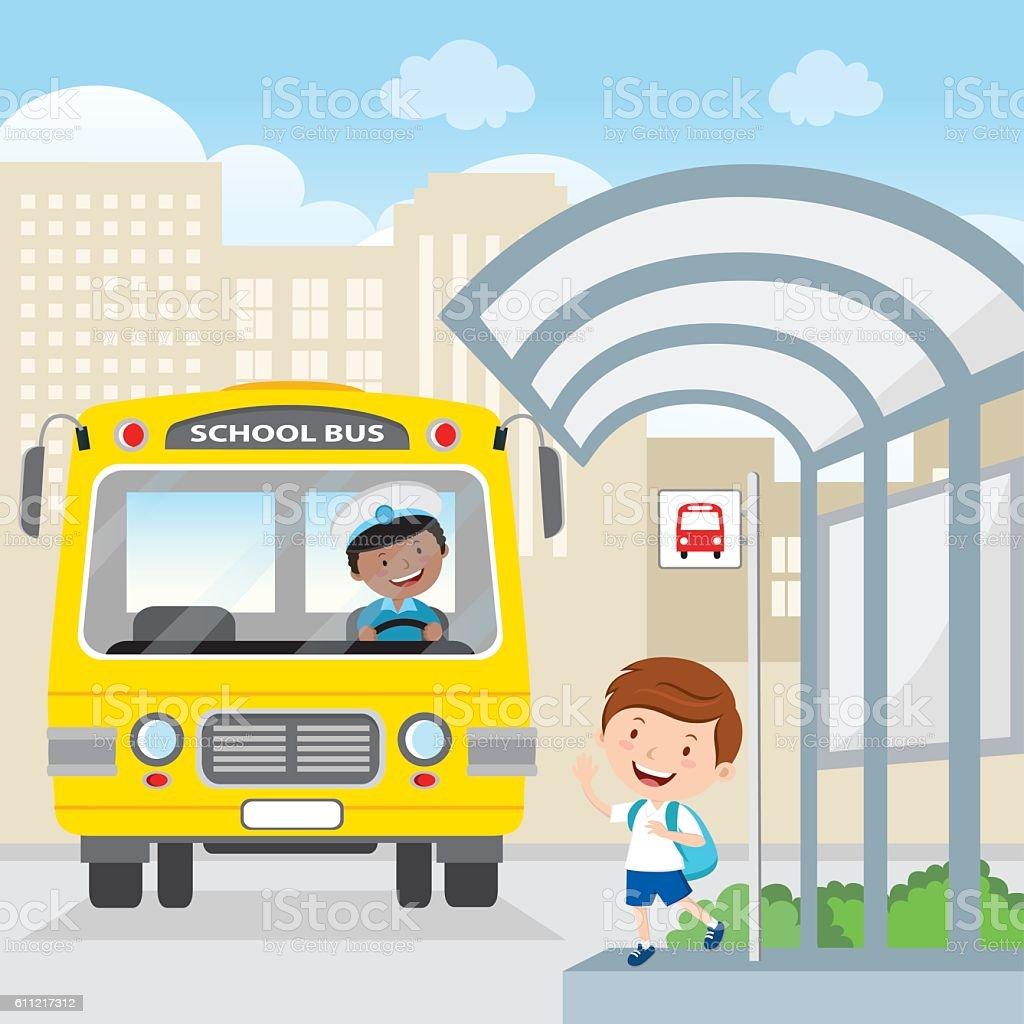 Little boy waving at the school bus vector art illustration