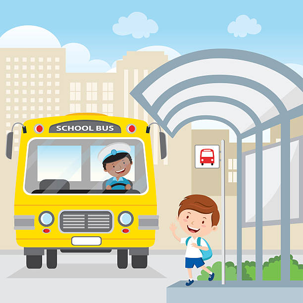 Little boy waving at the school bus vector art illustration