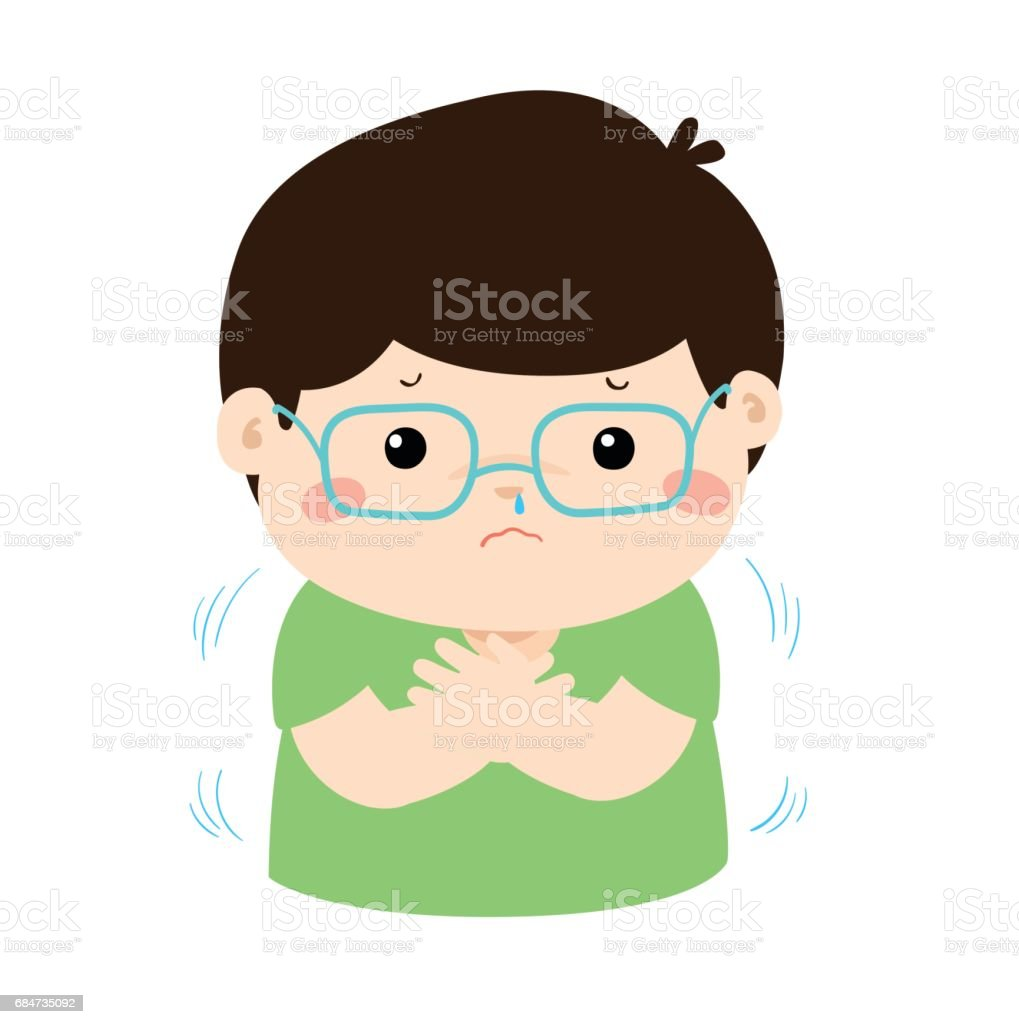 Little boy with a cold shivering cartoon vector. vector art illustration