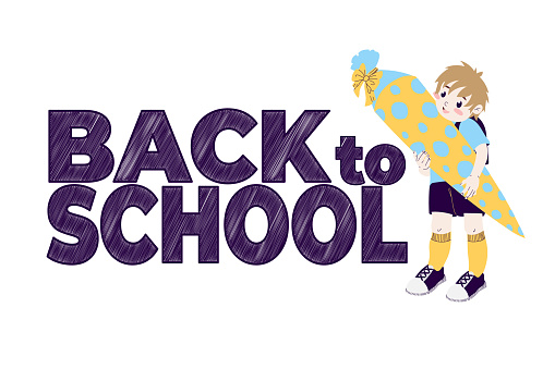 Little boy with a cone with sweets and slogan Back to school. Happy preschooler with shultute. Welcome to school. Vector illustration in cartoon flat design. Isolated on white background.