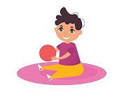 Little boy with a red ball sitting on the mat. Vector. Cartoon. Isolated art on white background. Flat.