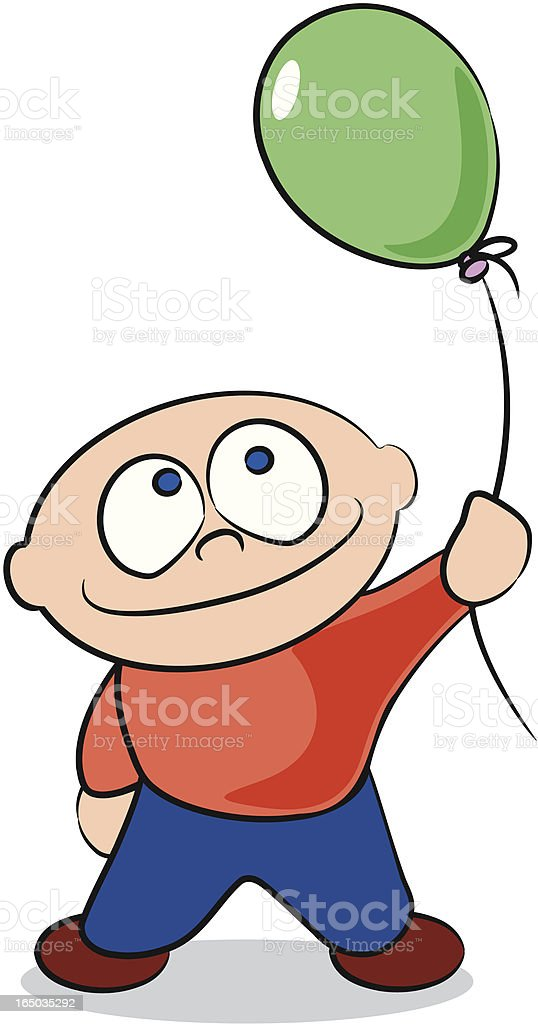 Little Boy with Balloon royalty-free stock vector art