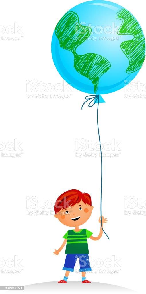 Little  boy with Earth balloon vector art illustration