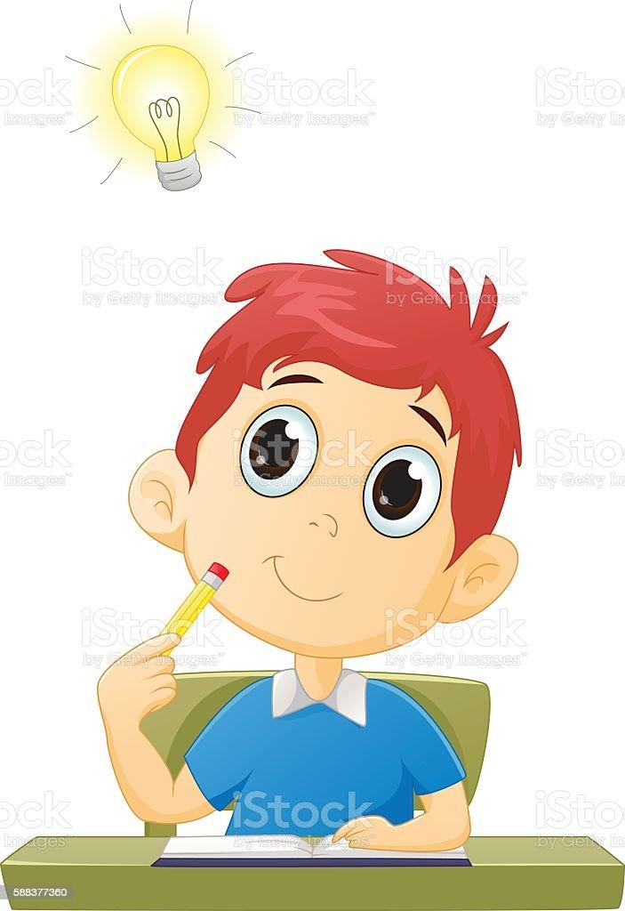 Little boy with good idea vector art illustration