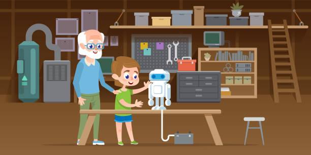 stockillustraties, clipart, cartoons en iconen met jongetje met zijn grootvader maken nieuwe lego robot in garage werkplaats. familie samen engineering slimme technologie speelgoed. vectorillustratie - lego