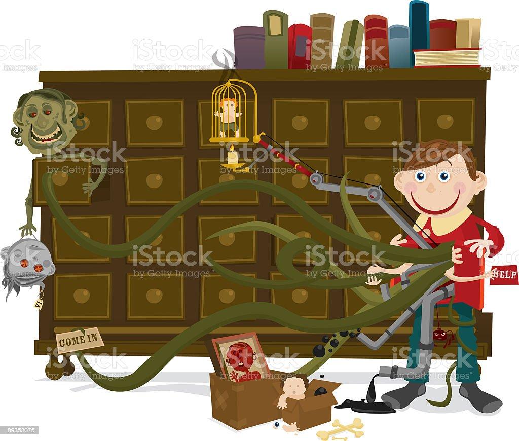 Little Boy with Monster Limbs Standing Near Dresser royalty-free stock vector art