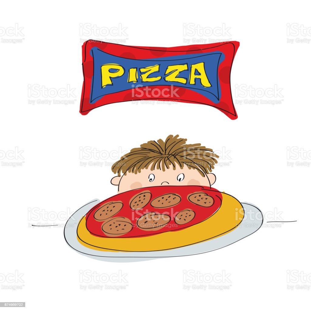 Little boy with pizza - original hand drawn illustration vector art illustration