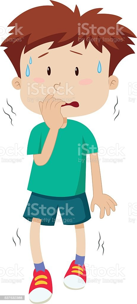 Little boy with scared face vector art illustration