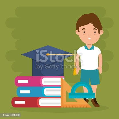 little boy with school supplies vector illustration design
