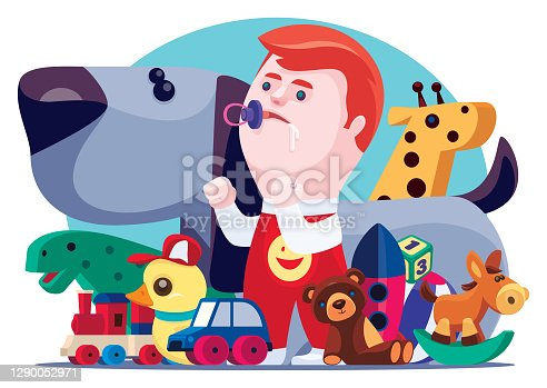 little boy with toys