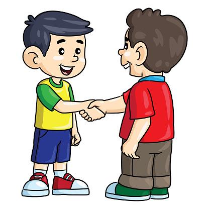 Little boys cartoon shaking hands