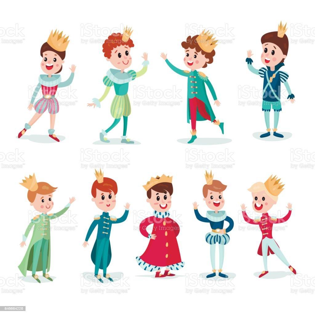 クラウンと王子様衣装で男の子かわいい漫画のキャラクター設定カラフルな