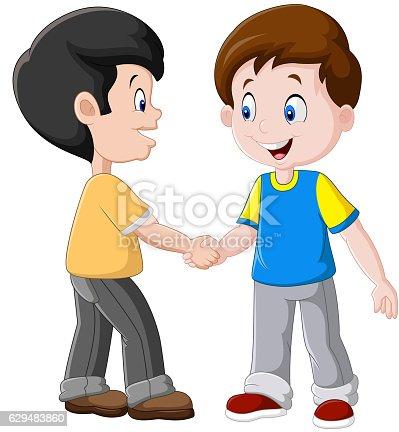 Little Boys Shaking Hands Stock Vector Art & More Images ... Kids Hand Shake Clip Art