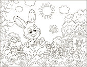 Rabbit making gifts to the holiday on grass among flowers on its front lawn near a small hut with thatched roof on a sunny spring day, black and white vector illustration in a cartoon style