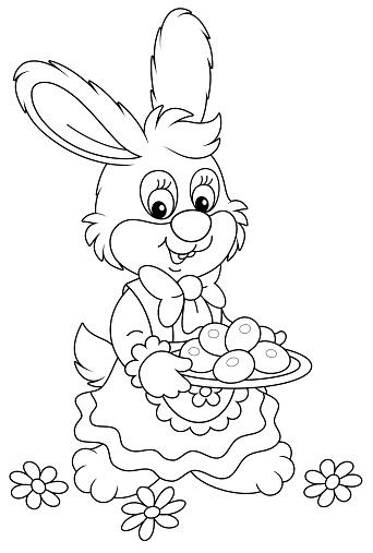 Little Bunny with a dish of Easter eggs