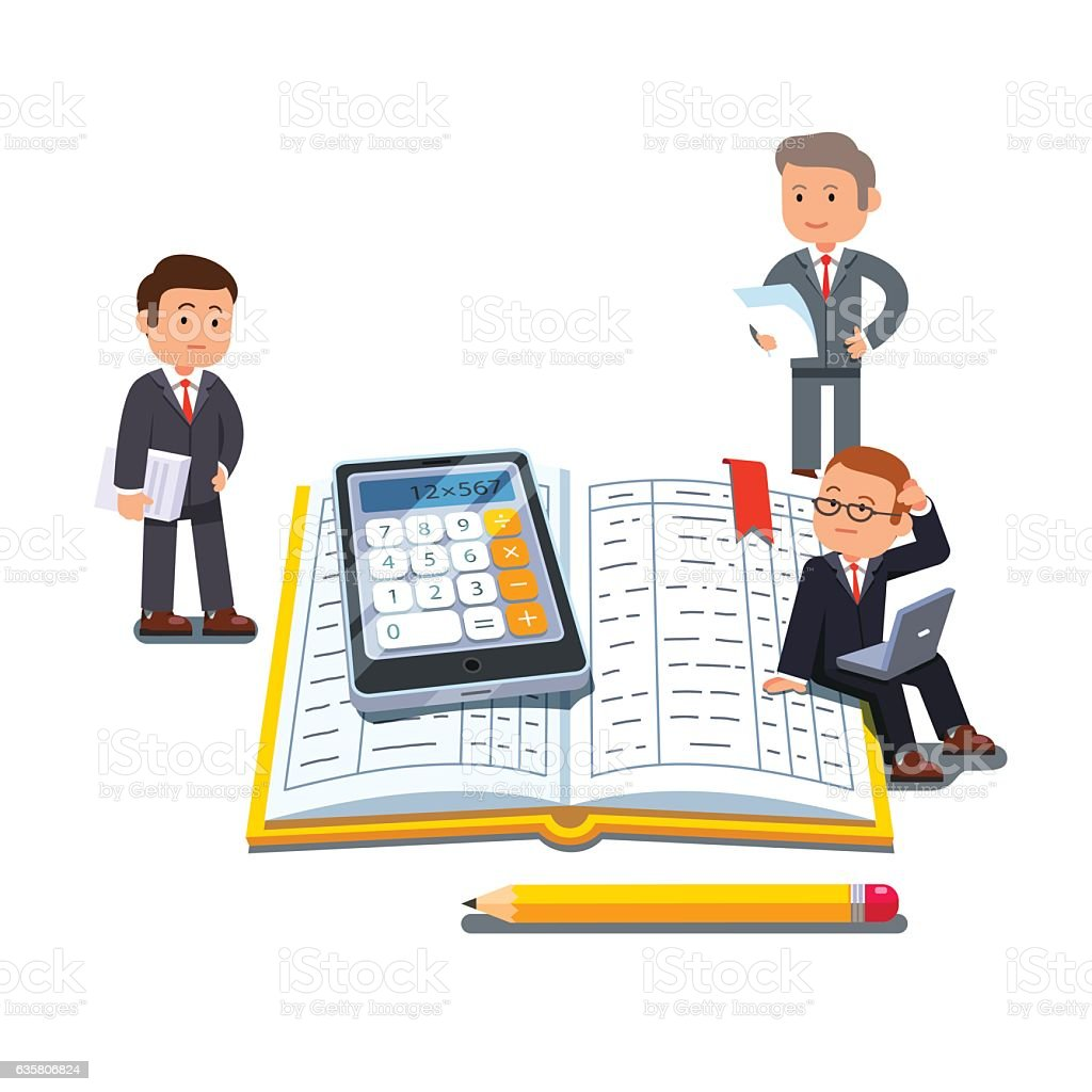 Little business people near big accounting book vector art illustration
