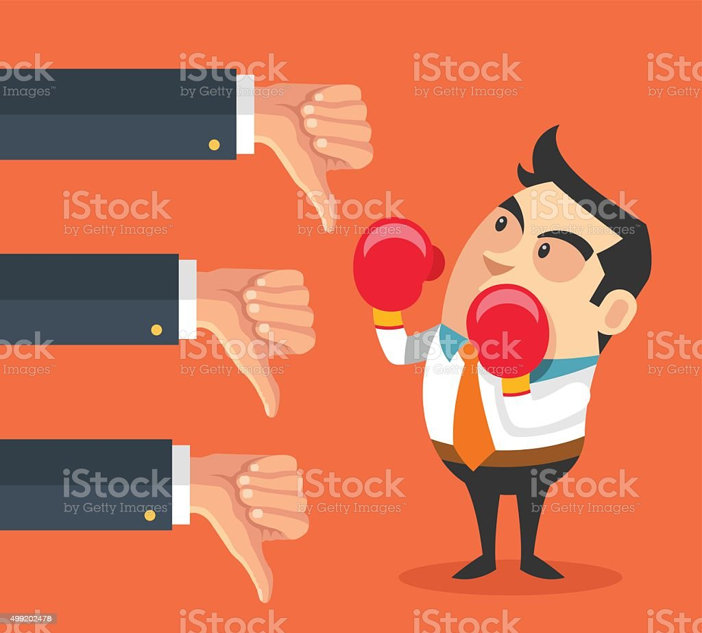 Little businessman and many hands with thumbs down vector art illustration