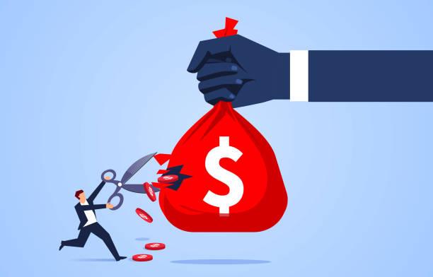 little businessman holding scissors to cut money bag in giant hand - spending money stock illustrations