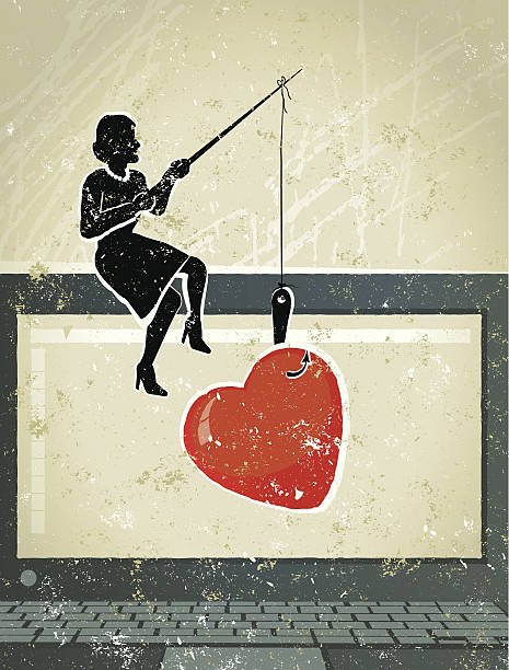 Little Businesswoman Fishing for Love on Computer What a Catch! A stylized vector cartoon of a Businesswoman fishing for love, reminiscent of an old screen print poster and suggesting work, love, catch, romance, temptation, alluring, or Valentine's, online, surfing the web or matchmaking. Computer, woman, heart, paper texture, and background are on different layers for easy editing. Please note: this is an eps 10 illustration and clipping masks have been used. online dating stock illustrations
