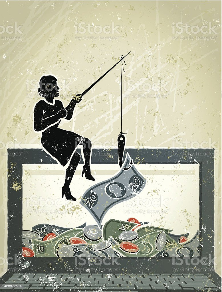 Little Businesswoman Fishing for Money on Computer Laptop Phishing! A stylized vector cartoon of a Businesswoman fishing for money, reminiscent of an old screen print poster and suggesting work, finance, debt, savings, phishing, banking, finance or investment, online, surfing the web or e-commerce. Computer, woman, money, paper texture, and background are on different layers for easy editing. Please note: this is an eps 10 illustration and clipping masks have been used. Adult stock vector