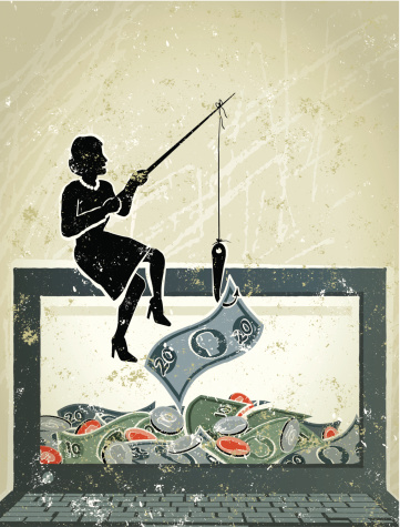 Little Businesswoman Fishing For Money On Computer Laptop Stock Illustration - Download Image Now