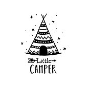 Little camper scandinavian style hand drawn poster. Nursery wall decor of wigwam and typography. Boho style drawing print. Kids room decoration. Vector illustration.