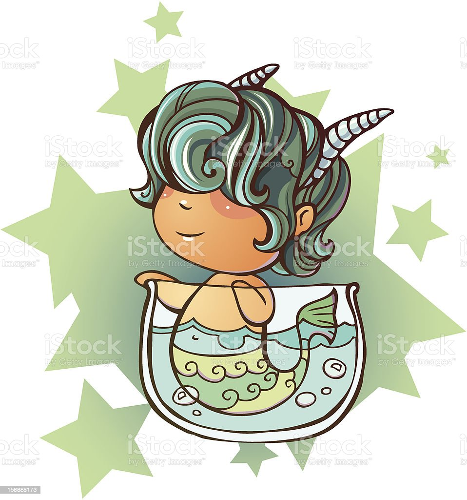 Little Capricorn vector art illustration