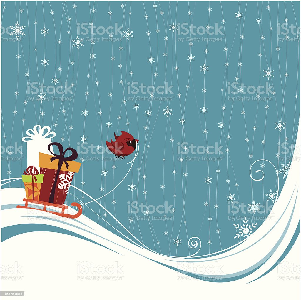 Little Cardinal with presents on blue winter background royalty-free stock vector art