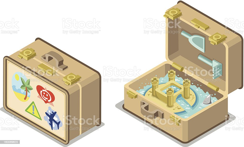 Little carry along sandcastle in suitcase open and closed vector art illustration