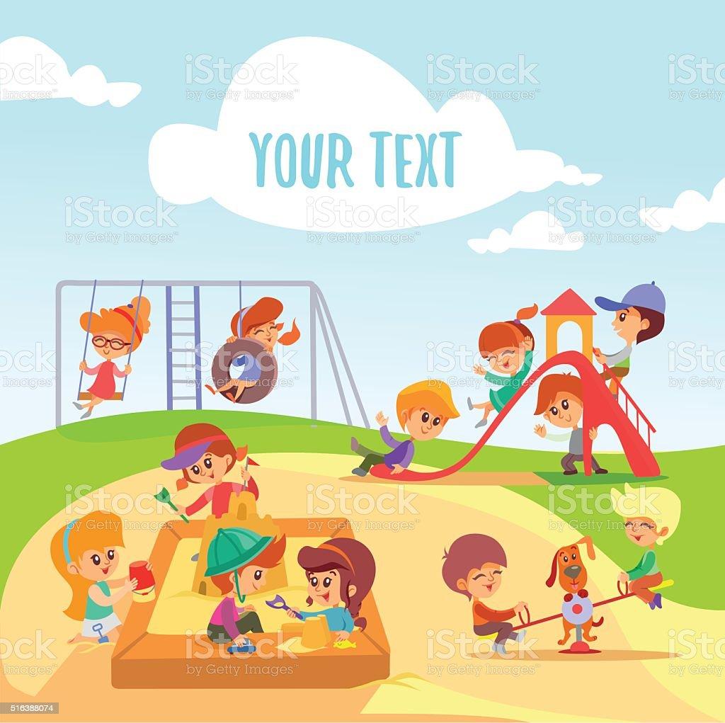 Little cartoon boys and girls playing on playground. vector art illustration