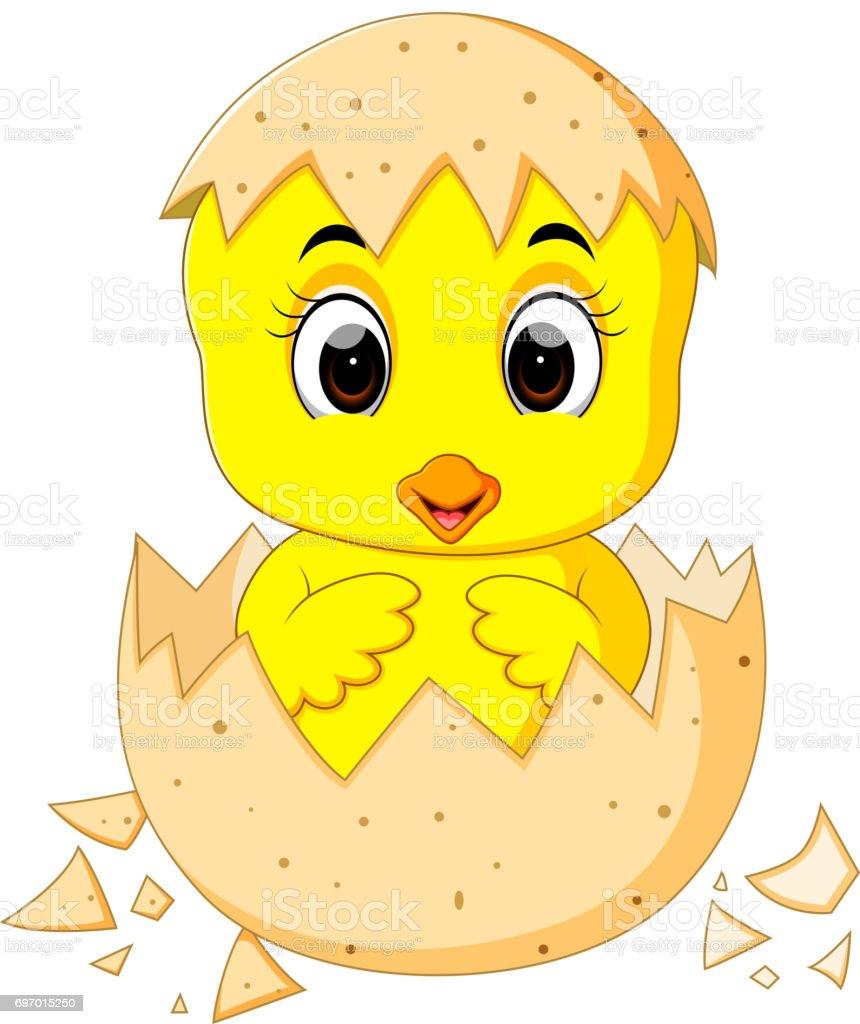 Bir Yumurtadan Küçük Karikatür Civciv Yumurtadan Stok Vektör Sanatı