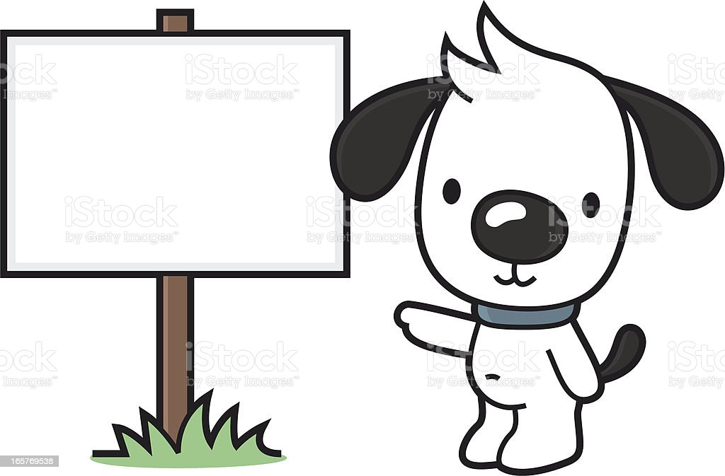 little cartoon dog points to a blank sign vector art illustration