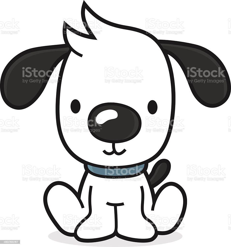 Little Cartoon Dog Sitting On The Floor Stock Vector Art