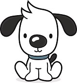vector illustration of a little cartoon dog (puppy) sitting on the floor