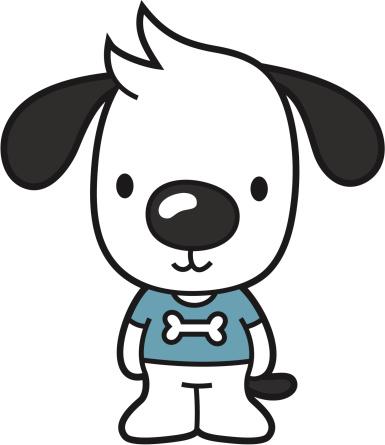 little cartoon dog with blue dogbone tshirt