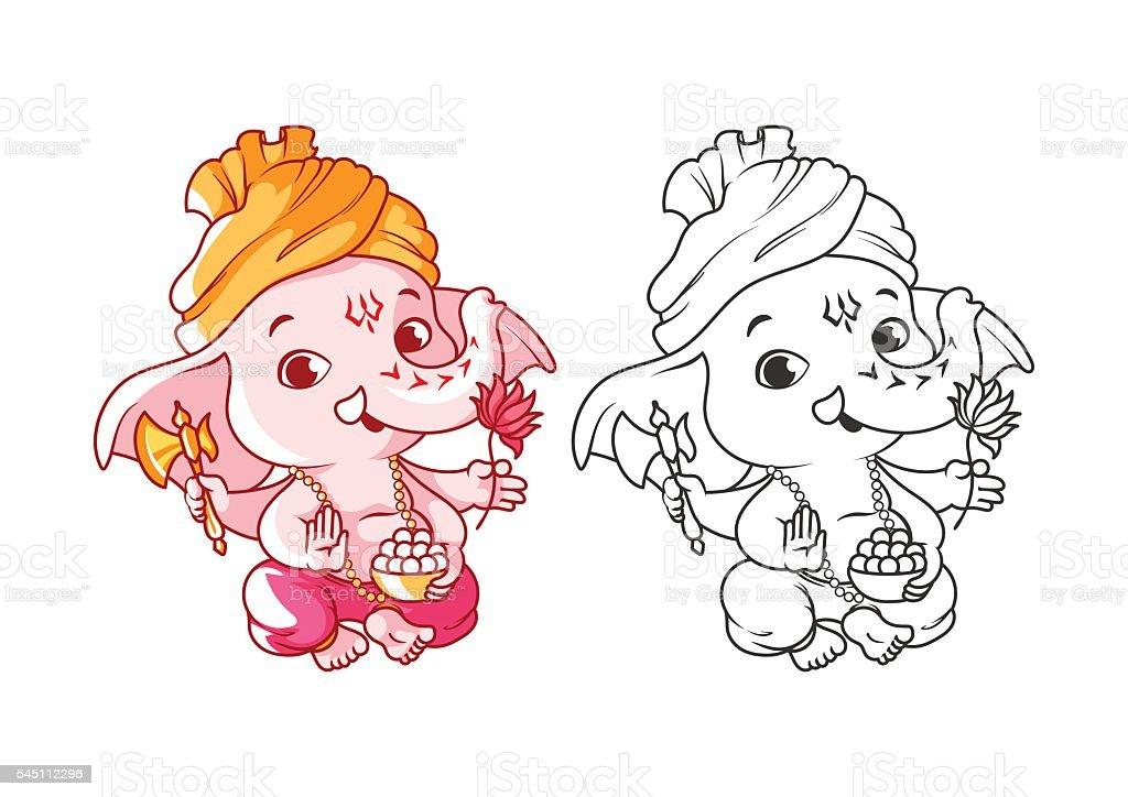 Ilustración de Poco Niño De Historieta Ganesha Página Para Libro De ...
