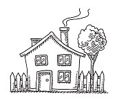 Hand-drawn vector drawing of a Little Cartoon House. Black-and-White sketch on a transparent background (.eps-file). Included files are EPS (v10) and Hi-Res JPG.