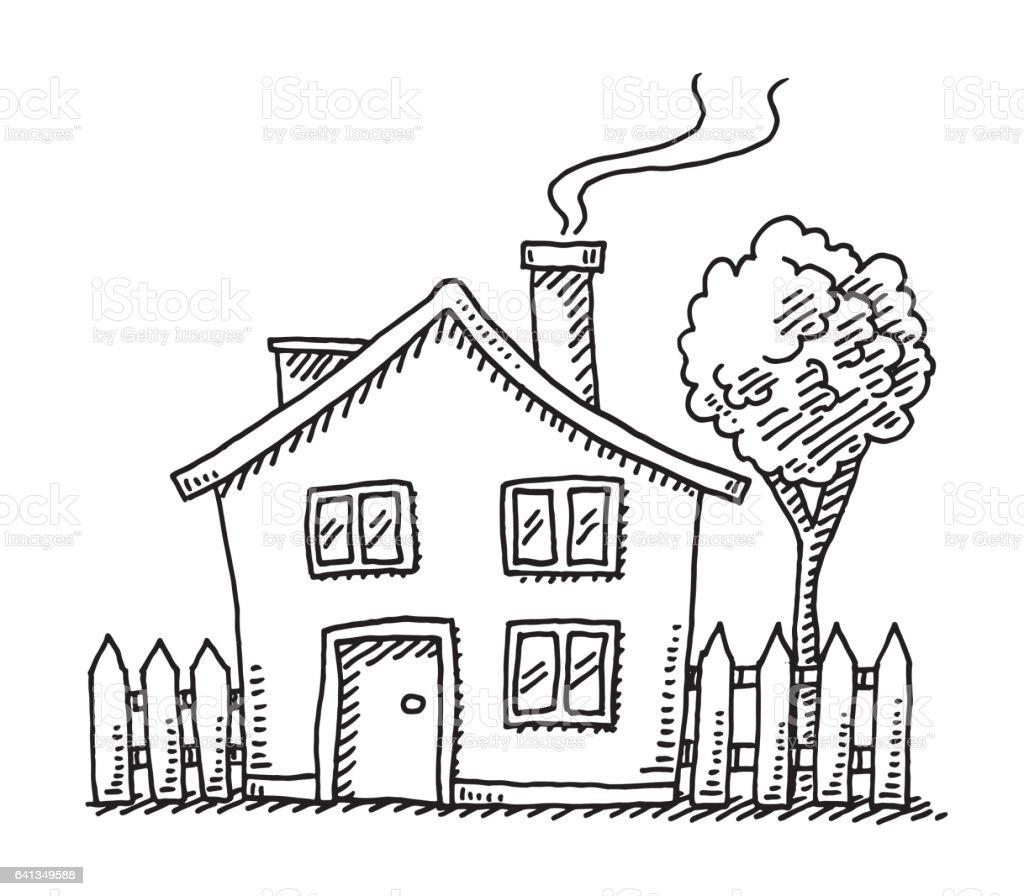 Little Cartoon House Drawing vector art illustration