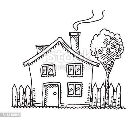 Little Cartoon House Drawing stock vector art 641349588