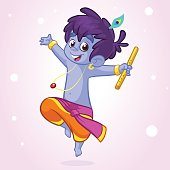 Little cartoon Krishna with a flute. Greeting card for Krishna birthday. Vector illustration isolated on a white background. Outlined illustration